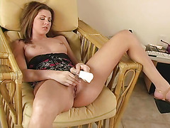 Gal with concupiscent manifestation plays with different kinds of sex toys