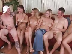 Four girls attempt sex anent lucky man